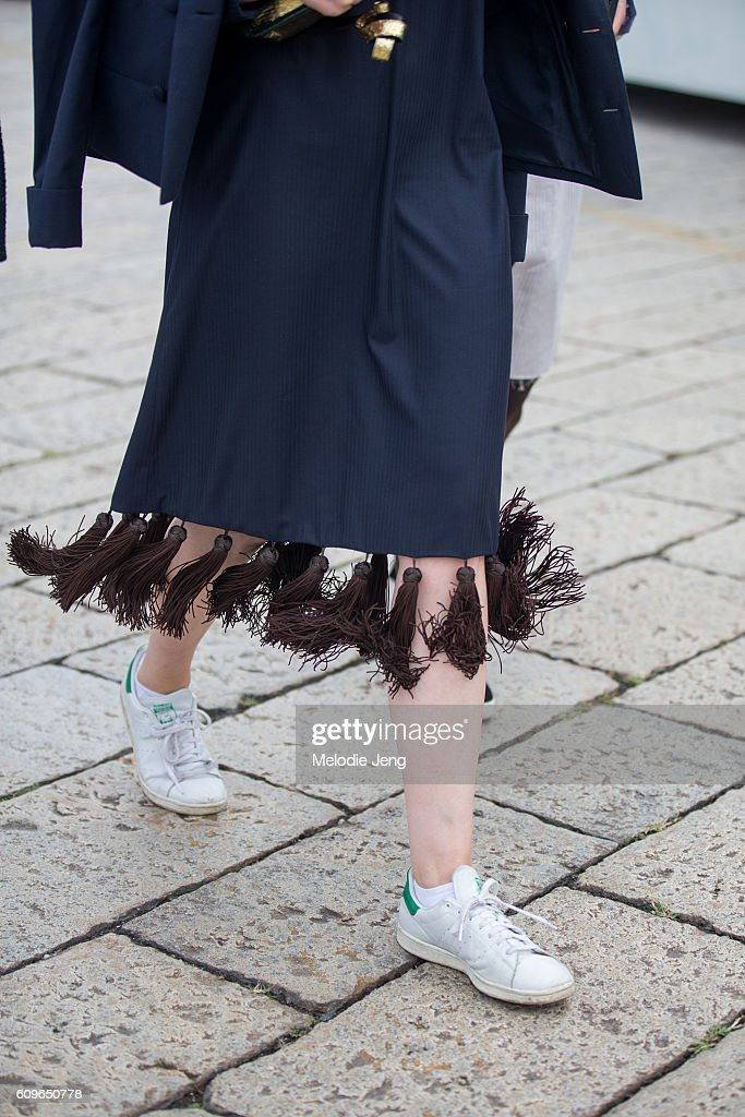 new style 4c14f 3125b Skirt details and Adidas Stan smith sneakers outside the ...