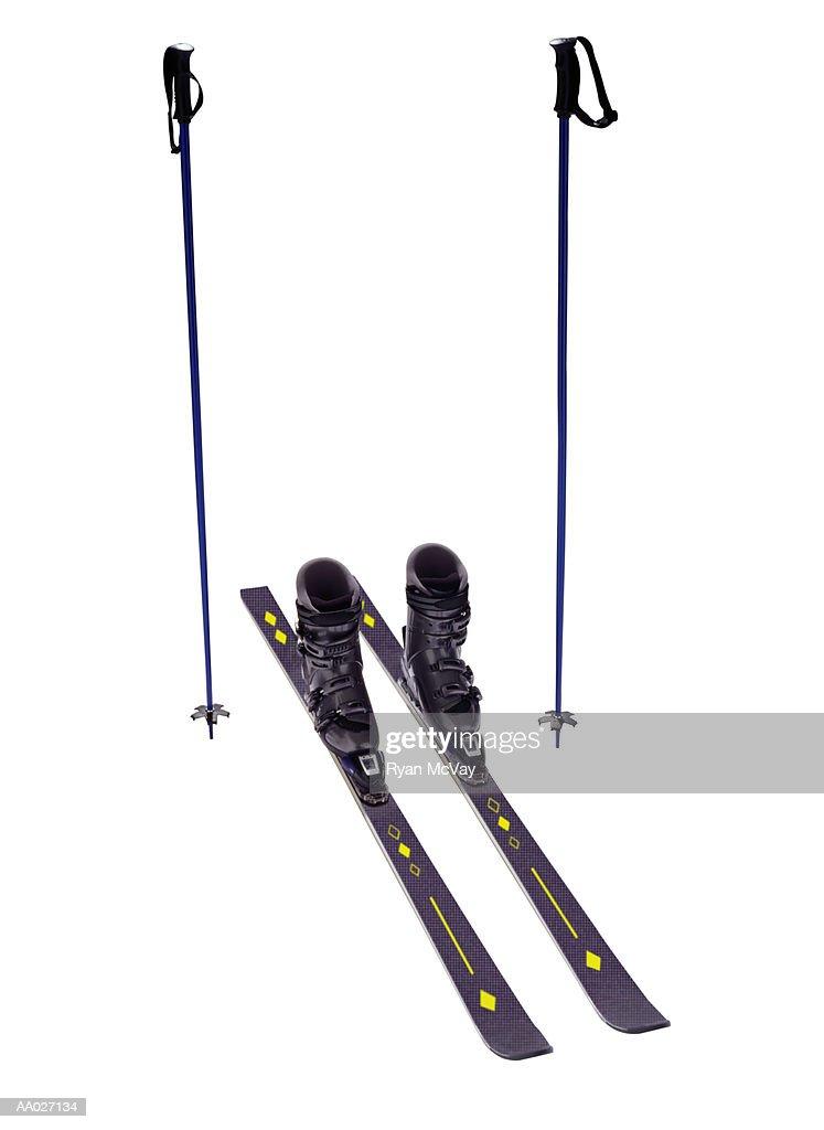 Skis and Ski Poles : ストックフォト