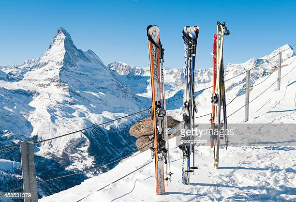 Skis and View of the Matterhorn