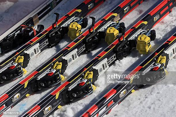 Skis are ready for the competitors as they prepare for men's downhill training for the Audi FIS World Cup on the Birds of Prey on November 29 2012 in...