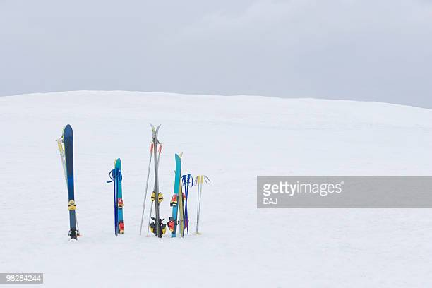 Skis stuck on snow