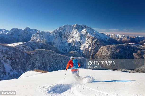 Skitouring downhill - powder skiing at Watzmann - Nationalpark Berchtesgaden