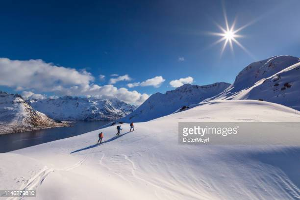 skitouring - powder skiing at  lofoten - norway - norway stock pictures, royalty-free photos & images