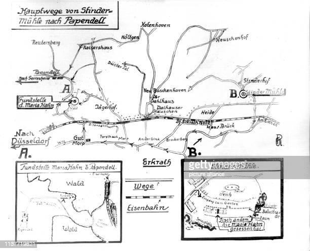 Skizze im Mordfall Maria Hahn die ihren Mörder im Ausflugslokal Stindermühle getroffen hat und deren Leiche im Wald bei Papendell gefunden wurde Am...
