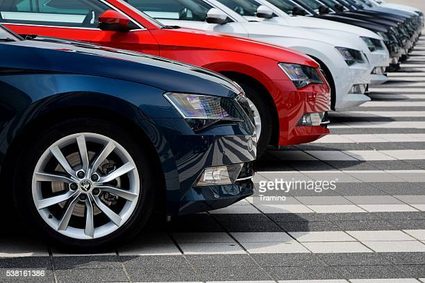 skoda cars in a row - in a row stock pictures, royalty-free photos & images