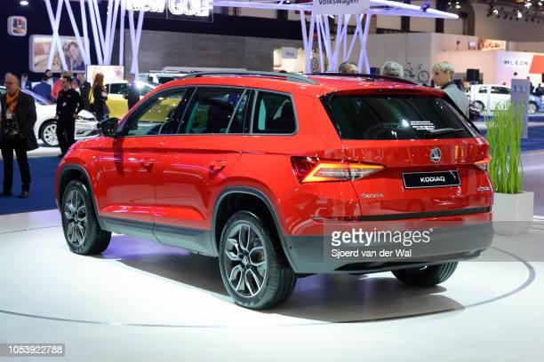 Skoda Kodiaq midsize crossover suv rear view on display at Brussels Expo on January 13 2017 in Brussels Belgium The Kodiaq shares a platform with the...