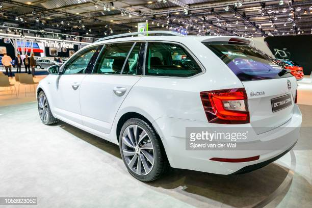 Skoda Octavia Combi station wagon on the Skoda motor show stand during the 2017 European motor show at Brussels Expo on January 13 2017 in Brussels...