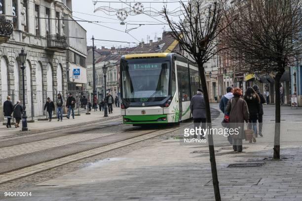 A Skoda tram is seen in Miskolc Hungary on 31 March 2018