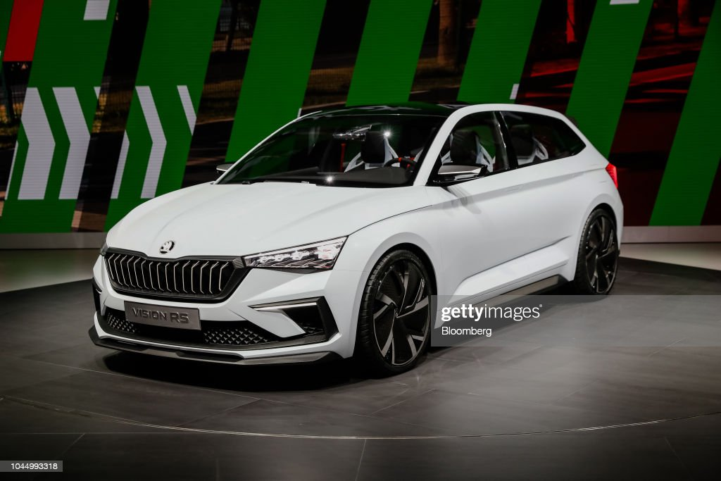 a skoda vision rs concept automobile stands on display at the paris news photo getty images. Black Bedroom Furniture Sets. Home Design Ideas