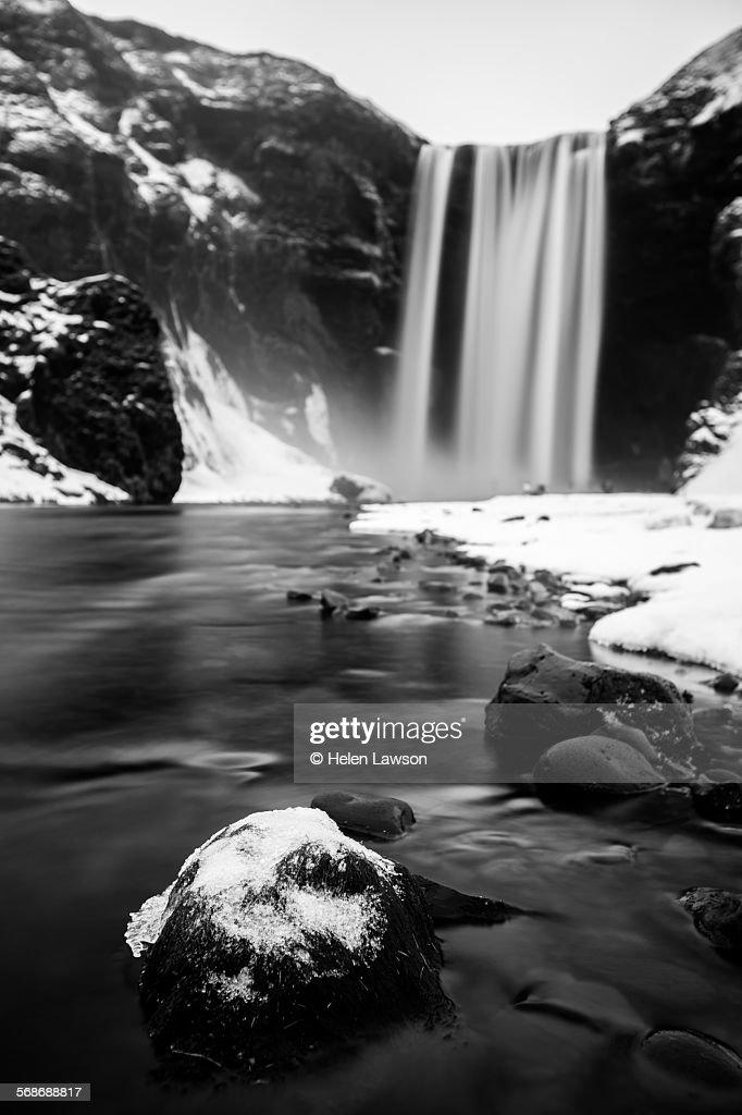 Skogafoss black and white : Stock Photo