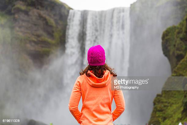 skogafoss waterfall - behind waterfall stock pictures, royalty-free photos & images