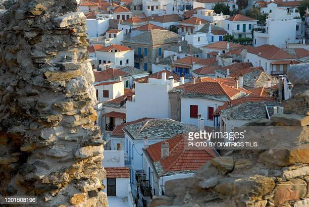 skopelos chora viewed from the castle - dimitrios tilis stock pictures, royalty-free photos & images