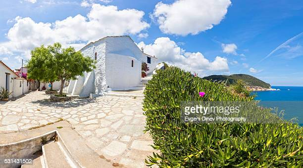 skopelos church - volos stock pictures, royalty-free photos & images