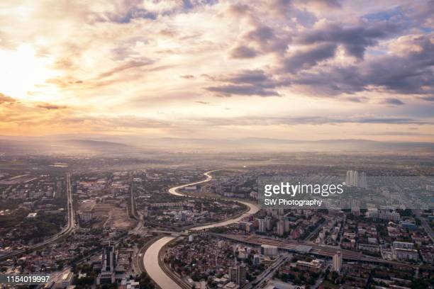 skopje and the vardar river by sunrise - skopje stock pictures, royalty-free photos & images