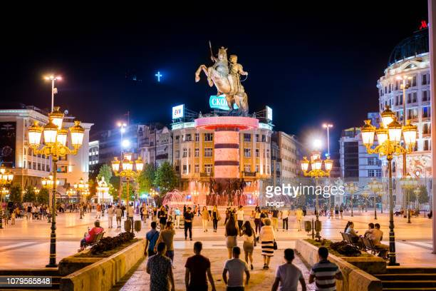 skopje city center/ town square, republic of macedonia, europe - skopje stock pictures, royalty-free photos & images