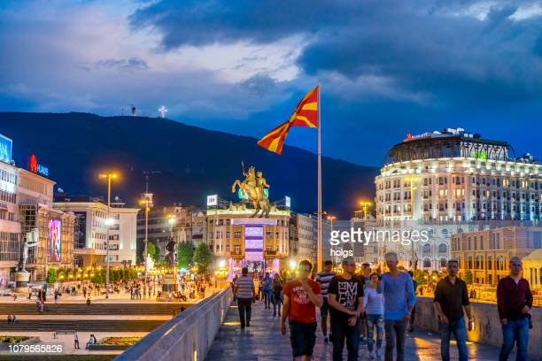 skopje macedonia square at night, europe - skopje stock pictures, royalty-free photos & images