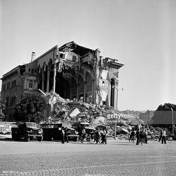 Skopje the day after the earthquake which destroyed 80% of the city and caused the death of 10 000 people, thousands of wounded persons and 200 000...