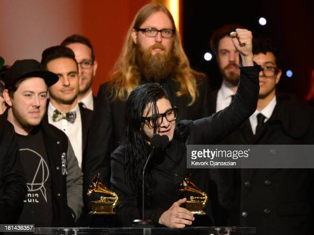 Skrillex accepts Best Dance/Electronica Album for 'Bangarang' onstage at the The 55th Annual GRAMMY Awards at Nokia Theatre on February 10 2013 in...