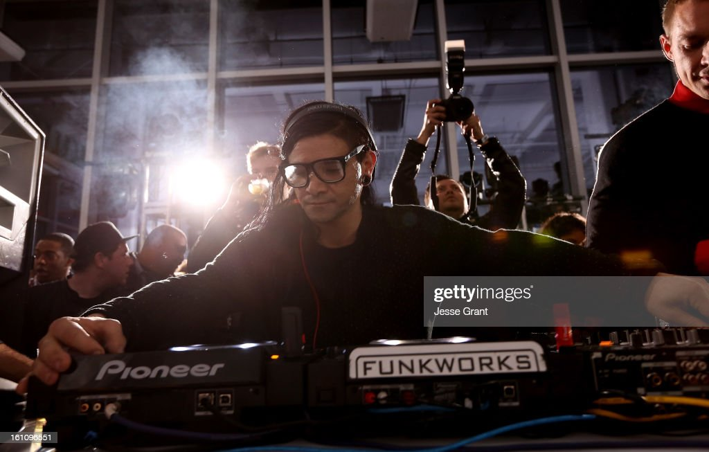 Skrillex attends the Skrillex, Diplo, Kaskade, Nero And Tommy Trash Perform Live, Supporting DANCE (RED), SAVE LIVES presented by Beats by Dr. Dre event at the AT&T Center on February 8, 2013 in Los Angeles, California.