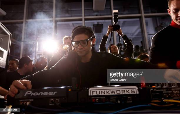 Skrillex attends the Skrillex Diplo Kaskade Nero And Tommy Trash Perform Live Supporting DANCE SAVE LIVES presented by Beats by Dr Dre event at the...