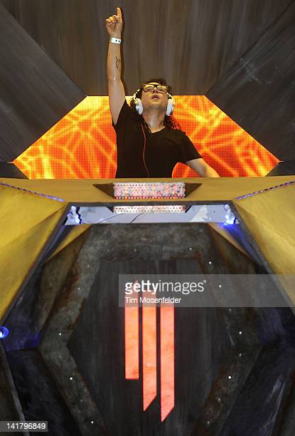 Skrillex performs as part of Day One of Ultra Music Festival 14 at Bayfront Park on March 23 2012 in Miami Florida