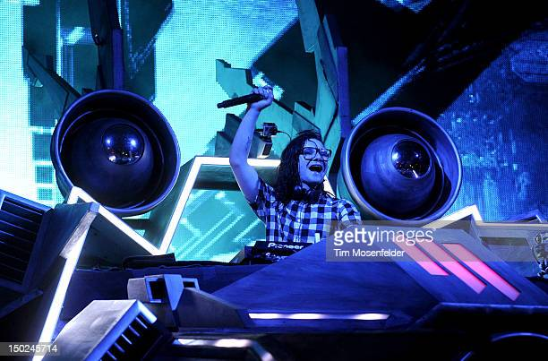 Skrillex performs at Day Three of the Outside Lands Music Art Festival at Golden Gate Park on August 12 2012 in San Francisco California