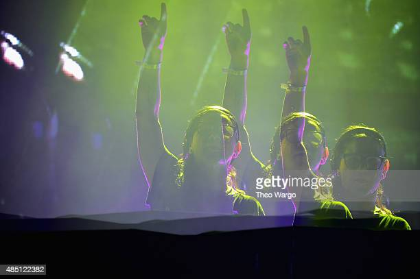 Skrillex performs during Billboard Hot 100 Festival Day 2 at Nikon at Jones Beach Theater on August 23 2015 in Wantagh New York