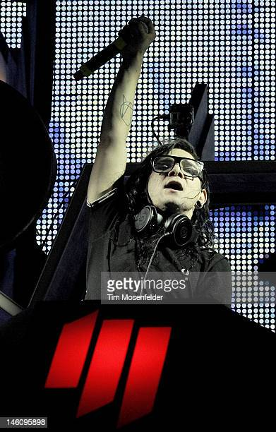 Skrillex performs during day 3 of the Bonnaroo Music And Arts Festival on June 9 2012 in Manchester Tennessee