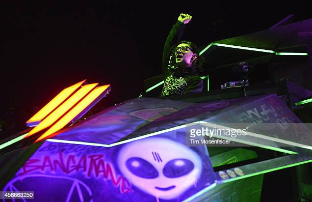 Skrillex performs during the Austin City Limits Music Festival at Zilker Park on October 4 2014 in Austin Texas