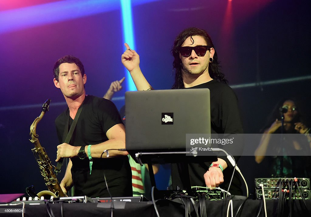 Skrillex performs during the Superjam onstage at This Tent during day 3 of the 2014 Bonnaroo Arts And Music Festival on June 14, 2014 in Manchester, Tennessee.