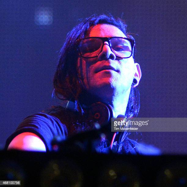 Skrillex performs during the Ultra Music Festival at Bayfront Park Amphitheater on March 29 2015 in Miami Florida