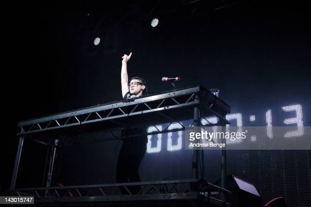 Skrillex performs on stage at O2 Academy on April 17, 2012 in Leeds, United Kingdom.