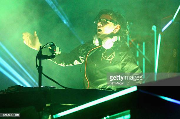 Skrillex performs onstage at The Other Tent during day 2 of the 2014 Bonnaroo Arts And Music Festival on June 13 2014 in Manchester Tennessee