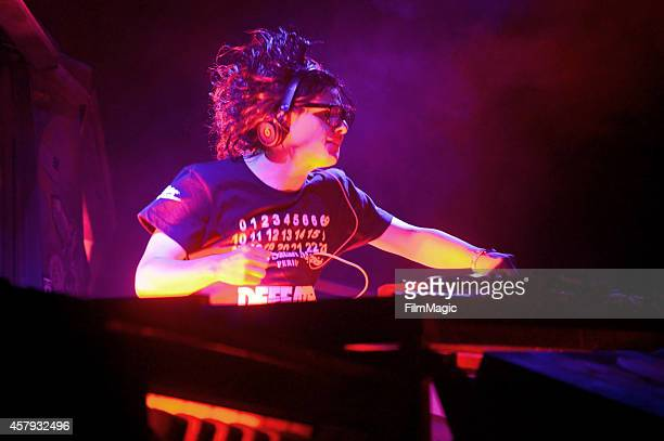 Skrillex performs onstage during day 3 of the 2014 Life is Beautiful festival on October 26 2014 in Las Vegas Nevada