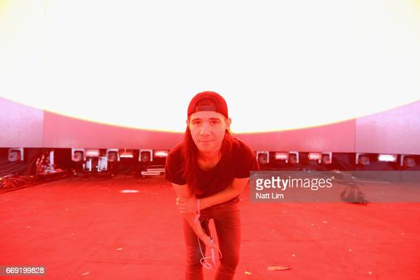 Skrillex poses backstage in the Sahara Tent during day 3 of the Coachella Valley Music And Arts Festival at the Empire Polo Club on April 16 2017 in...
