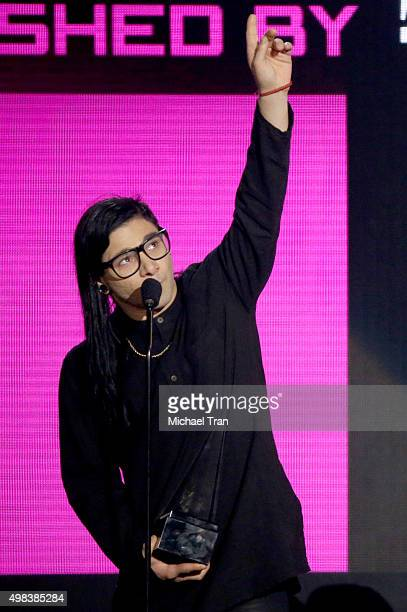 Skrillex speaks onstage at the 2015 American Music Awards at Microsoft Theater on November 22 2015 in Los Angeles California