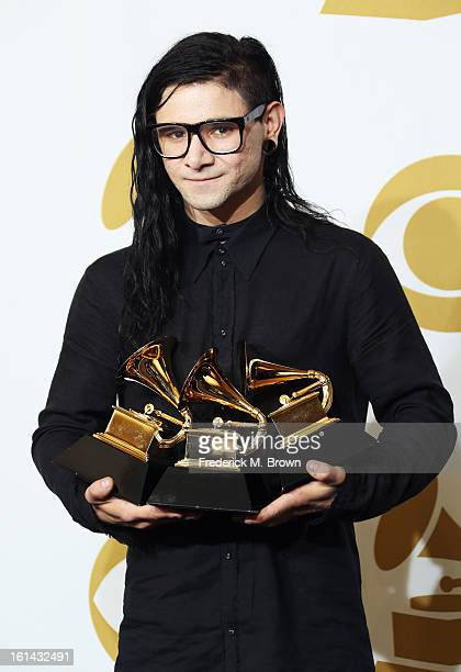 Skrillex winner Best Remixed Recording Nonclassical Best Dance Recording for 'Bangarang' and Best Dance/Electronica Album for 'Bangarang' poses in...