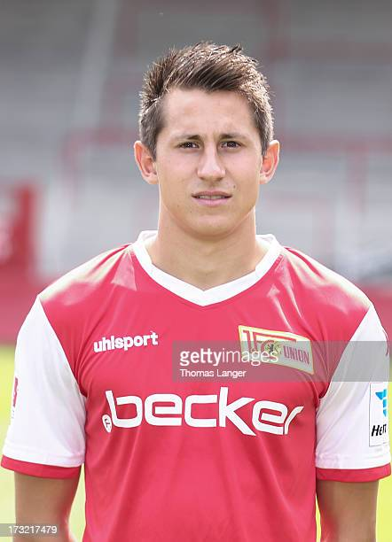 Skrzybski Steven poses during the 1 FC Union Berlin team presentation at Alte Foersterei on July 1 2013 in Berlin Germany