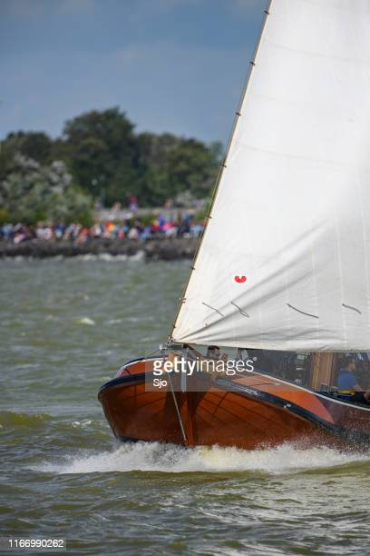 Skûtsje of Drachten Classic Frisian sailing Tjalk ship during the 2019 annual SKS Skûcheksilen