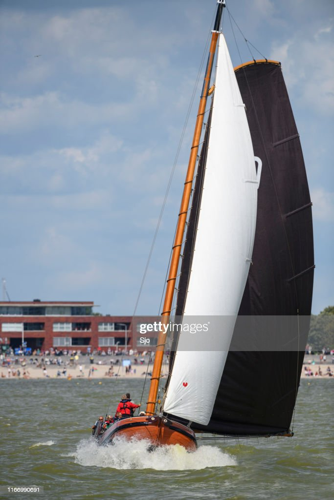 Skûtsje of Drachten Classic Frisian sailing Tjalk ship during the 2019 annual SKS Skûcheksilen : Stock Photo
