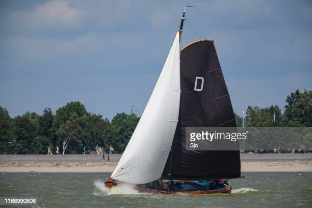 Skûtsje of Drachten Classic Frisian sailing Tjalk ship during the 2019 annual SKS Skûcheksilen