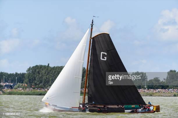 Skûtsje of Grou Classic Frisian sailing Tjalk ship during the 2019 annual SKS Skûcheksilen