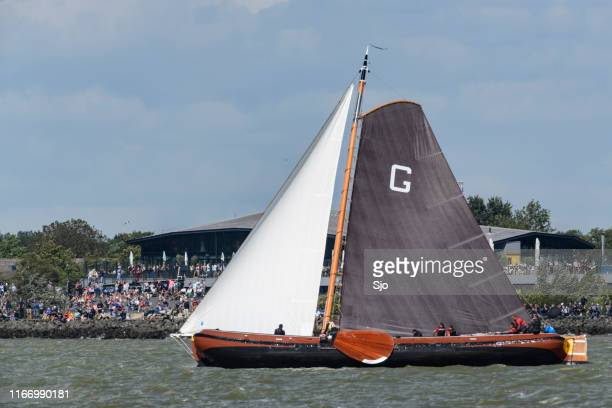 Skûtsje of Grou Classic Frisian sailing Tjalk ship during the 2019 annual SKS Skûcheksilen
