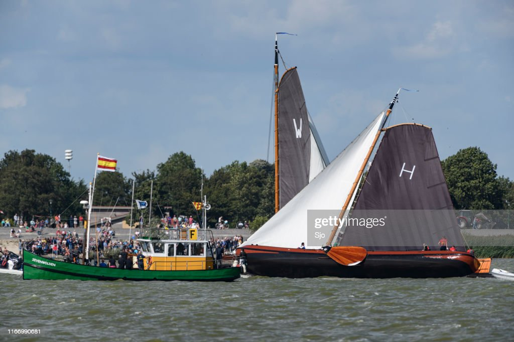 Skûtsje of Heerenveen, the Gerben van Manen, classic Frisian sailing Tjalk ship during the 2019 annual SKS Skûcheksilen : Stock Photo