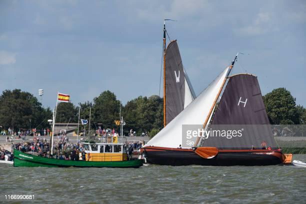 Skûtsje of Heerenveen, the Gerben van Manen, classic Frisian sailing Tjalk ship during the 2019 annual SKS Skûcheksilen