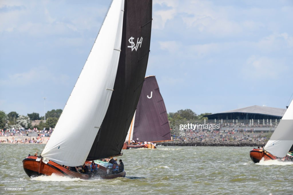 Skûtsje, Stavoren or Súdwesthoek classic Frisian sailing Tjalk ship during the 2019 annual SKS Skûcheksilen : Stock Photo