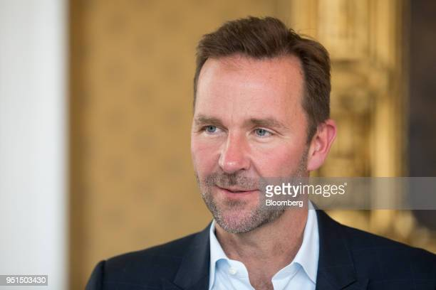 Skuli Mogensen chief executive officer of Wow Air Ehf pauses during an interview following an Aviation Club lunch in London UK on Thursday April 26...