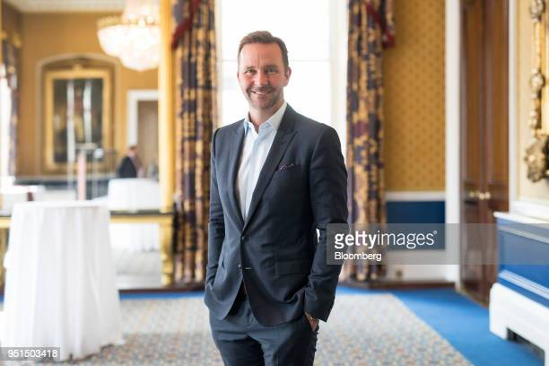 Skuli Mogensen chief executive officer of Wow Air Ehf poses for a photograph following an Aviation Club lunch in London UK on Thursday April 26 2018...
