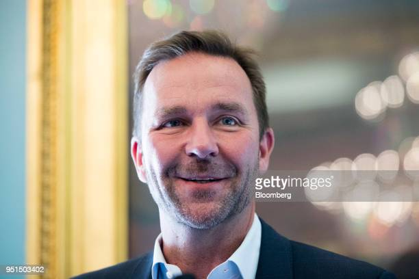 Skuli Mogensen chief executive officer of Wow Air Ehf speaks during an Aviation Club lunch in London UK on Thursday April 26 2018 Wow will add seven...