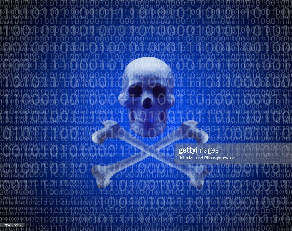 Skull and crossbones in binary code : Stock Photo